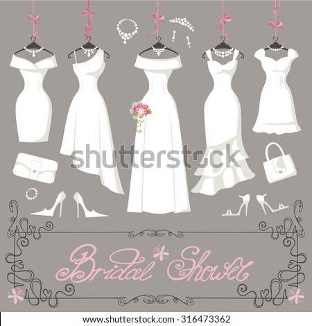 a907338817d Wedding dresses hanging.Fashion bride Dress made in modern flat style.White  dress