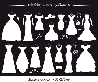 Wedding dresses,Fashion Bride white Dress Silhouette in flat modern style.Vintage vector.Different styles.Bride dresses,accessories,silhouette.Holiday vector background.Bridal shower composition