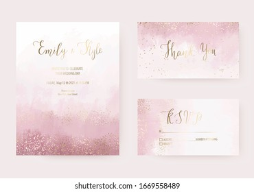 Wedding dusty rose watercolor invitation design, thank you and rsvp cards with gold border confetti texture.