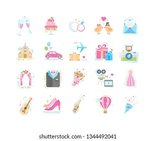 Wedding elements flat color icons set. Rings, church, honeymoon trip, wedding dresses, decorations. Betrothal sign for web page, app, banner, social media. Vector clipart, illustration, template.