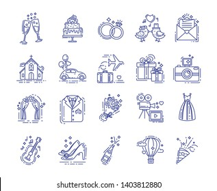 Wedding elements line color icons set. Rings, church, honeymoon trip, wedding dresses, decorations. Betrothal sign for web page, app, banner, social media. Vector clipart, illustration, template.