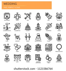 Wedding Elements , Thin Line and Pixel Perfect Icons