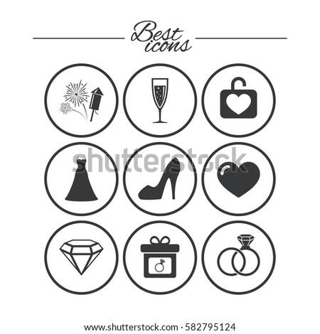 Wedding Engagement Icons Locker Heart T Stock Vector Royalty