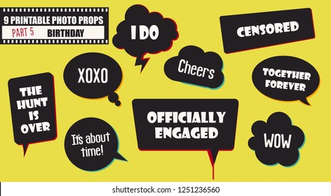 Wedding or engagement party photo booth props set of vector accessories. Illustration with funny wedding speech bubbles for selfie photobooth shooting
