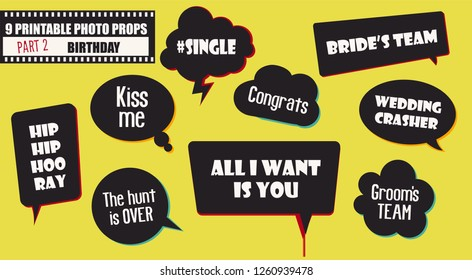 Wedding or engagement party photo booth props set of vector elements. Illustration with funny wedding speech bubbles for selfie photobooth shooting
