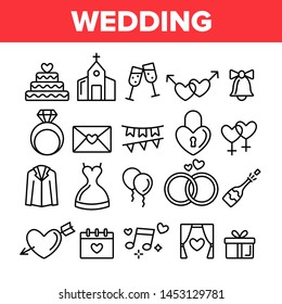 Wedding And Engaging Vector Linear Icons Set. Wedding Traditional Ceremony Outline Symbols Pack. Engagement Rings, Festive Cake, Bride Dress, Champagne Bottle Isolated Contour Illustrations