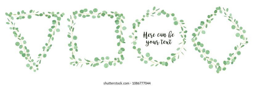 Wedding eucalyptus horizontal vector design banner. Rustic greenery. Watercolor style collection. Mediterranean tree. All elements are isolated and editable