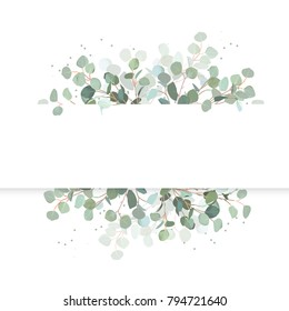 Wedding Eucalyptus Horizontal Vector Design Banner Rustic Greenery Mint Blue Tones Watercolor
