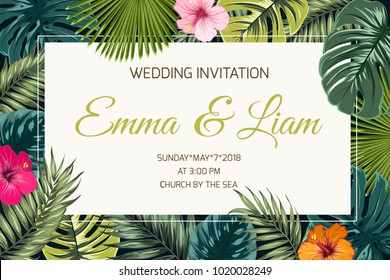 Wedding event invitation card template. Exotic tropical jungle rainforest bright green palm tree and monstera leaves hibiscus flowers border frame on dark background.