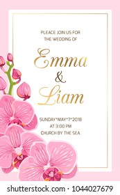 Wedding event invitation card template on pink background. Rectangular border frame decorated with bright orchid phalaenopsis flowers bouquet. Luxury shining gold gradient text placeholder.