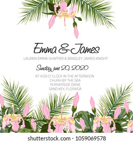 wedding event invitation card template exotic tropical jungle rainforest bright green palm tree and flowers