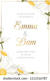 Wedding event invitation card template. Daisy chamomile wild field spring summer flowers border frame. Floral design template with golden frame text placeholder. Vertical portrait aspect ratio layout.