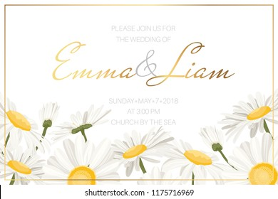 Wedding event invitation card template. Daisy chamomile wild field autumn summer spring flowers border frame. Floral design template golden frame text placeholder. Horizonatal landscape aspect ratio.