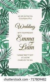 Wedding event invitation card template. Exotic tropical jungle rainforest bright green palm tree and monstera leaves border frame on white background. Vertical portrait aspect ratio. Text placeholder.