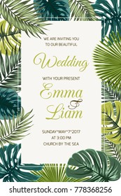 Wedding event invitation card template. Exotic tropical jungle rainforest bright green palm tree and monstera leaves border frame on beige background. Vertical portrait aspect ratio. Text placeholder.