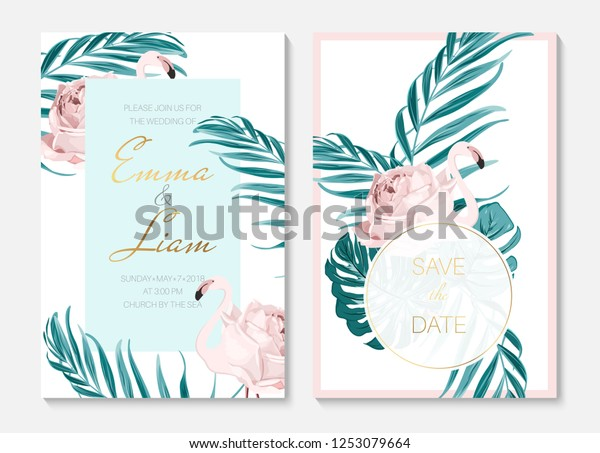 Wedding Event Invitation Cards Template Set Stock Vector (Royalty ...