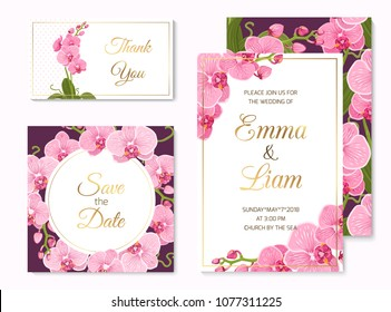 Wedding event invitation save the date RSVP thank you card template set. Pink purple exotic orchid phalaenopsis flowers. Shiny golden text title placeholder. White and violet background.