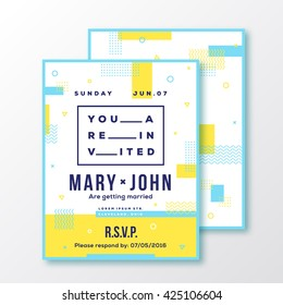 Wedding, Event, Party Invitation Card or Poster Template. Modern Abstract Flat Swiss Style Background with Decorative Stripes, Zig-Zags, Typography. Red, Blue Colors. Soft Realistic Shadows. Isolated.