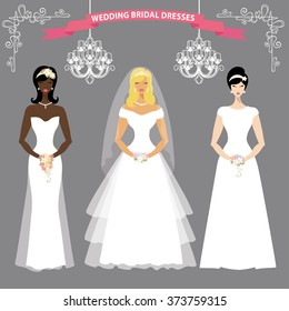 womanbride in different dress stylevector bridal shower set