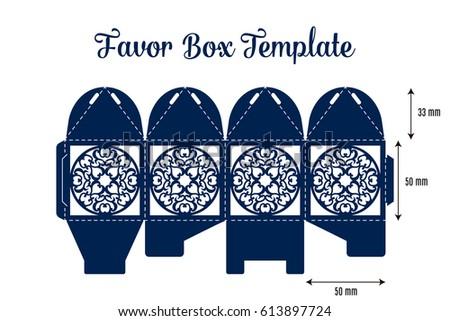 Wedding Favor Box Laser Cut Template Stock Vector Royalty Free