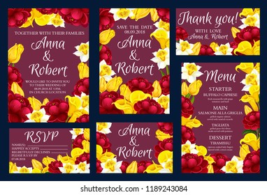 Wedding festive cards with blooming flowers as frame. Marriage ceremony invitations decorated by yellow tulip and red peony, white narcissus and tender calla. Save the date cards vector banners