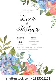 Wedding floral background with a blooming blue hydrangea and leaves. Hand drawn in watercolor. Excellent use for invitations, prints, greetings, wedding celebrations. Floral background. Vector