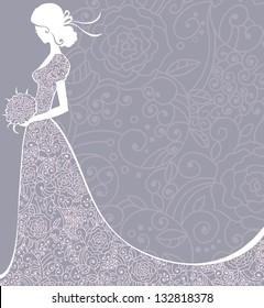 Wedding floral background with bride. Vector illustration.
