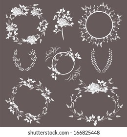 Wedding floral frames with beautiful roses and laurels isolated on black background