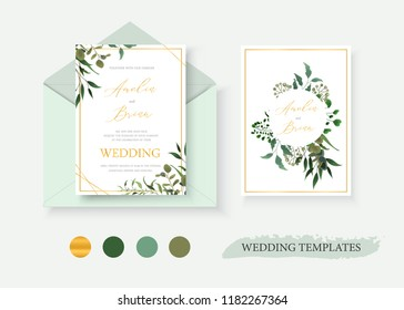 Wedding floral gold invitation card envelope save the date design with green tropical leaf herbs eucalyptus wreath and frame. Botanical elegant decorative vector template watercolor style