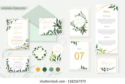 Wedding floral gold invitation card envelope save the date rsvp menu table label design with green tropical leaf herbs eucalyptus wreath frame. Botanical decorative vector template watercolor style