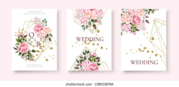 Wedding floral golden geometric triangular frame invitation card save the date design with pink flowers roses and green leaves wreath. Botanical elegant decorative vector template in watercolor style