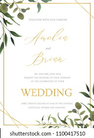Wedding floral golden invitation card save the date design with green tropical leaf herbs eucalyptus wreath and frame. Botanical elegant decorative vector template watercolor style