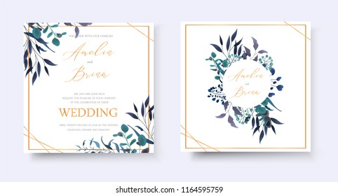 Wedding floral golden invitation card save the date rsvp design with tropical leaf herbs eucalyptus wreath and frame. Botanical elegant decorative vector template watercolor style