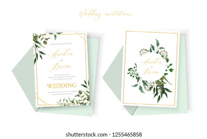 Wedding floral golden invitation card envelope save the date design with green tropical leaf herbs eucalyptus wreath and frame. Botanical elegant decorative vector template watercolor style