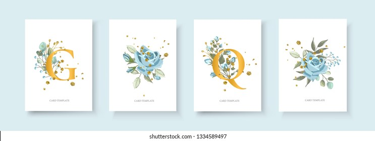 Wedding floral golden invitation card envelope save the date minimalism design with nature plant navy blue rose flower and gold splatters. Botanical elegant decorative vector template watercolor style