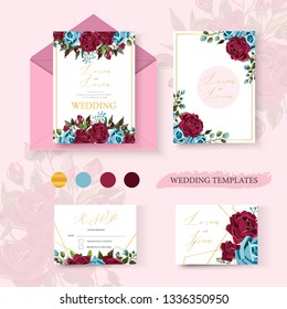 Wedding floral golden invitation card save the date design with bordo navy blue flowers roses and green leaves geometrical frame. Botanical elegant decorative vector template in watercolor style