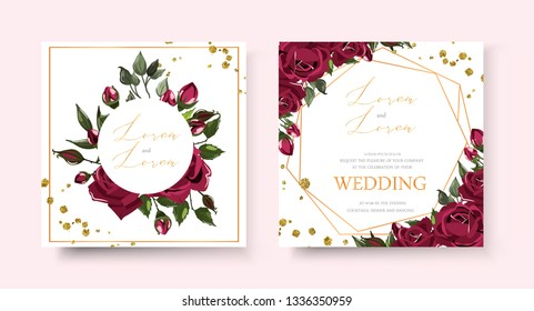 Wedding floral golden invitation card save the date design with bordo navy blue flowers roses green leaves geometrical frame gold splatters. Botanical elegant vector template in watercolor style