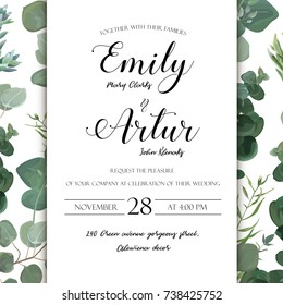 Wedding floral hand drawn invite invitation card design: Eucalyptus silver succulent cactus greenery natural leaves watercolor rustic elegant delicate green anniversary copy space beauty cute template