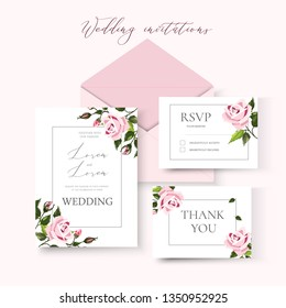 Wedding floral invitation card save the date design with pale pink flowers roses and green leaves wreath and frame. Botanical elegant decorative vector template in watercolor style