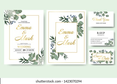 Wedding floral invitation card save the date design with green leaf herbs eucalyptus frame. Botanical elegant decorative vector template