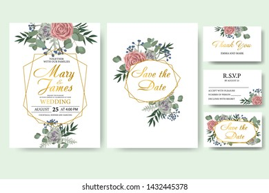 Wedding floral invitation card save the date design with green leaf herbs eucalyptus, rose, succulent and golden frame. Botanical elegant decorative vector template