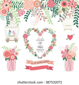 Wedding Floral Invitation.We Are Getting Married,Mason Jar,Wreath,Banner,Love and Thanks,Birdcage,Love Birds.
