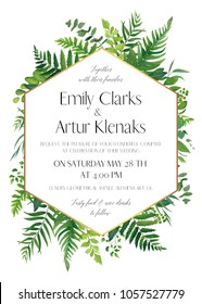 Wedding floral invitation, invite card. Vector modern elegant design with natural botanical green forest fern fronds, eucalyptus, palm leaves & greenery herbs with geometrical golden frame decoration