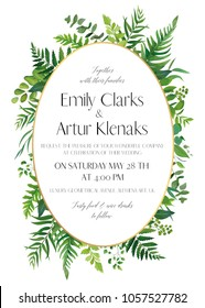 Wedding floral invitation, invite card. Vector watercolor style elegant design with natural, botanical green forest fern fronds, eucalyptus, palm leaves & greenery herbs & golden oval frame decoration