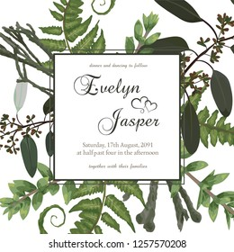 Wedding floral invitation, invite card. Vector watercolor green forest leaf, fern, brunia, branches boxwood, buxus, eucalyptus. Natural, botanical decorative frame gold, square. Good layout