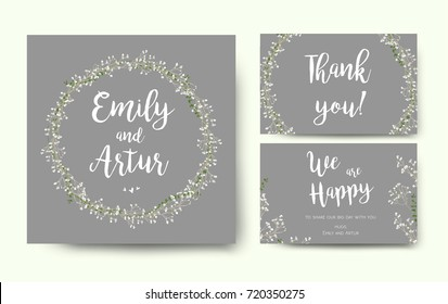 Wedding floral invitation invite flower card silver gray design with garden Baby's breath Gypsophila tiny flower wreath romantic poster banner. Vector romantic anniversary print. Elegant cute template