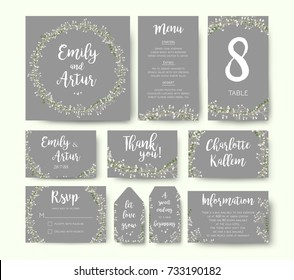 Wedding floral invitation invite flower card silver gray design: garden Baby's breath Gypsophila tiny flower wreath romantic rsvp, menu, label, thank you cards. Vector romantic print. Elegant template