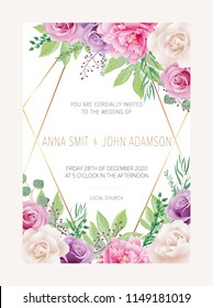 Wedding floral  invitation, save the date card design with white and purple garden roses flowers and white peony & elegant golden geometric decoration. Trendy wedding card. Vector, modern template