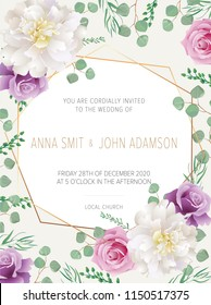 Wedding floral  invitation, save the date card design with purple roses flowers and pink peony & elegant golden geometric decoration. Geometric botanical vector design frame.Trendy wedding card.