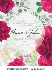 Wedding floral  invitation, save the date card design with white peonies, dark red, pink and purple roses and elegant geometric decoration. Geometric botanical vector design frame.Trendy wedding card.